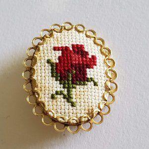 Vintage | Cross Stitch | Rose Flower | Stick Pin